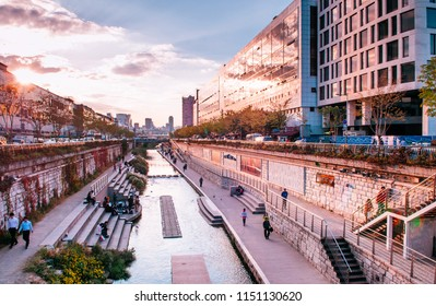 OCT 27, 2013 Seoul, South Korea - Cheonggyecheon canal near Dongdaemun district, area for urban relaxation and famous tourist area.