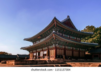 OCT 27, 2013 Seoul, South Korea - Old Injeongjeon hall of Changdeokgung Palace, also know as East Palace and one of Five Grand Palaces in Seoul, South Korea