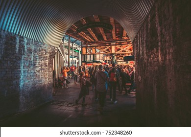 Oct 27, 2017 - London, UK : People shopping and dinner at Borough Market  in Southwark, London. An one of oldest markets in UK