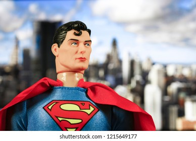 OCT 27 2018:  Portrait of Superman with Metropolis in the distance - DC Comics - Mego action figure