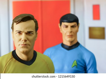 OCT 27 2018: Scene from Star Trek the original series with Captain Kirk and Mr Spock exiting the turbo lift on the bridge of the USS Enterprise - Diamond Select Toys