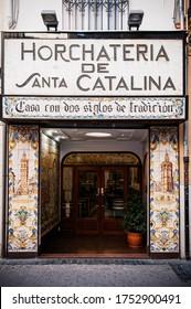 Oct 29, 2012 Valencia, Spain - Famous Horchata or orxata cafe in Valencia with fresco tiles decoration facade