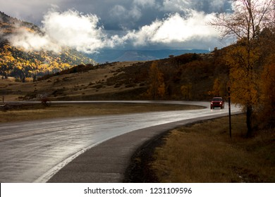 OCT 8, 2018 - CHAMA NEW MEXICO, USA - Fresh rain on higwhay 17, Colorado/New Mexico border near Chama, New Mexico