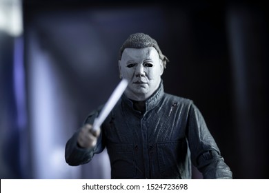 OCT 9 2019: Scene from Halloween II showing slasher Michael Myers at the Haddonfield Memorial Hospital - Neca Ultimate Halloween 2 action figure