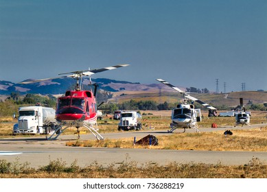 Oct.,15, 2017, Petaluma, CA. - Firefighting helicopters at the ready at the Petaluma Municipal Airport during the disastrous North Bay fires in Sonoma County.