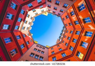 Octagon shape building inner court - Shutterstock ID 617283236