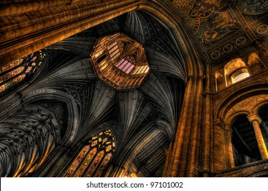 Octagon tower and vaulted ceiling of the Ely Cathedral, Cambridgeshire. HDR image.