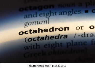 octahedron word in a dictionary. octahedron concept.
