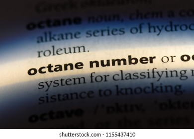 octane number word in a dictionary. octane number concept.