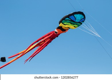 An octapus inflatable kite in the air at a kite festival at Lincoln City Oregon