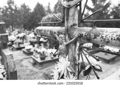 Octave of All Saints. Artistic look in black and white. Polish memory. Octave of All Saints. In November, in Poland a week dedicated to the memory of the dead.