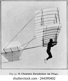 Octave Chanute 1832-1910 French-American railway engineer and aviation pioneer flying biplane glider a design later adapted by the Wright brothers. Ca. 1896.