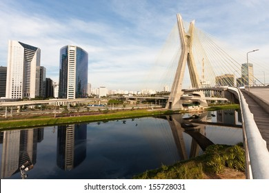 The Octavio Frias de Oliveira bridge is a cable-stayed bridge in Sao Paulo, Brazil over the Pinheiros River, opened in May 2008.