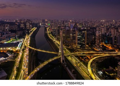 The Octavio Frias de Oliveira bridge or Estaiada Bridge, a cable-stayed suspension bridge built over the Pinheiros River in the city of São Paulo, Brazil.