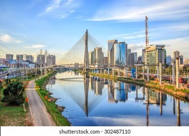 Octavio Frias de Oliveira Bridge in Sao Paulo Brazil South America