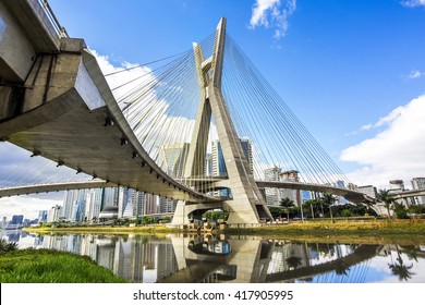 Octavio Frias de Oliveira Bridge, or Ponte Estaiada, in Sao Paulo, Brazil.