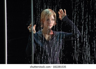 "OCTOBE 26, 2005 - BERLIN: Katharina Schuettler in a scene of the theater production ""Hedda Gabler"" (by Henrik Ibsen, director: Thomas Ostermeier), Schaubuehne am Lehniner Platz, Berlin."