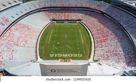 October 03, 2018 - Athens, Georgia, USA: Aerial views of Sanford Stadium, which is the on-campus playing venue for football at the University of Georgia in Athens, Georgia, United States.