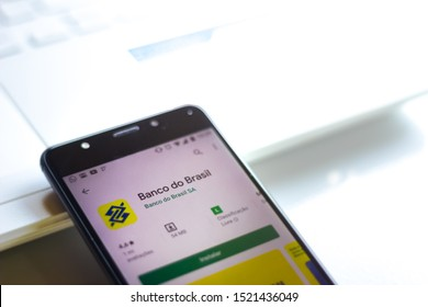 October 03, 2019, Brazil. In this photo illustration the Banco do Brasil logo is displayed on a smartphone.