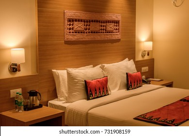 October 03,2017. Puri,Orissa,India. Comfort bedroom in luxury style with selective focus.