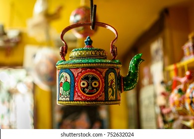 October 04,2017. Puri, Orissa,India. Handicraft kettle  item with selective focus.