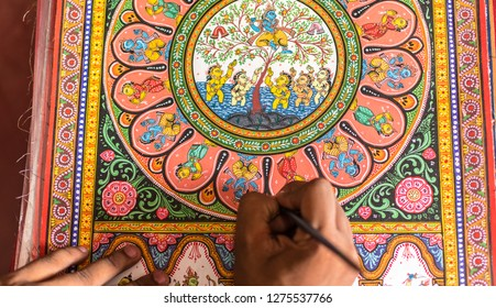 October 04,2017. Puri, orissa,India.Traditional Storytelling  Handicraft artwork of Orissa,India.