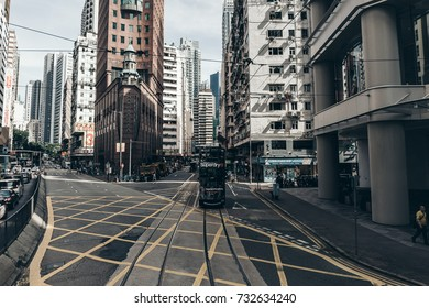 October 06, 2017, Central District, Hong Kong: viewing the Hong Kong street scene from the double decker tramway