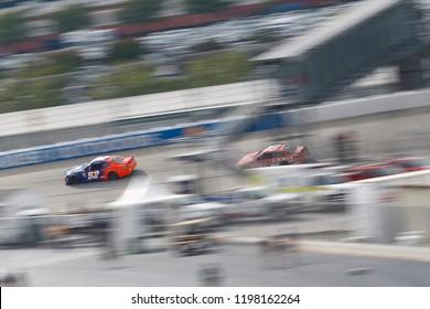 October 07, 2018 - Dover, Delaware, USA: Harrison Rhodes (52) battles for position during the Gander Outdoors 400 at Dover International Speedway in Dover, Delaware.