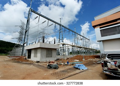 OCTOBER 08, 2015 ; NAN - THAILAND : Gas insulated switchgear building and its outdoor electrical equipment under-construction.