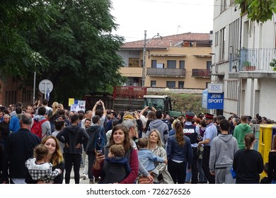 october 1 2017, Cardedeu, Catalonia, Spain, people in the street to vote the referendum, Tractor in the street to prevent a police charge