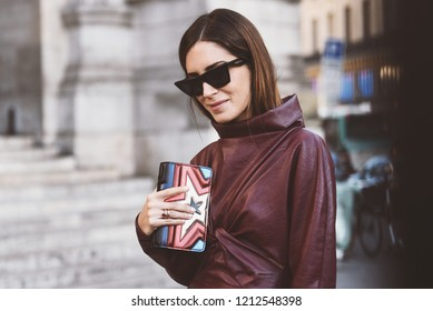 October 1, 2018: Paris, France - Street style outfit during Paris Fashion Week  - PFWSS19