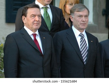 OCTOBER 10, 2005 - BERLIN: Gerhard Schroeder, Horst Koehler at a ceremony officially ending the Schroeder administration in Berlin.