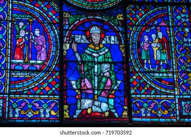 October 10, 2014, Canterbury Cathedral, Canterbury, Kent, England.  A stained glass window in the Canterbury Cathedral of Thomas Becket.