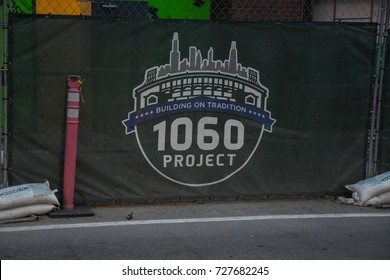 October 10, 2016 - The 1060 Project sign, Wrigley Field, Wrigleyville, Chicago, Illinois