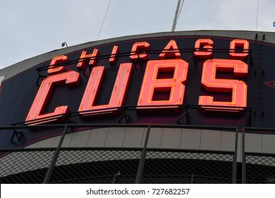 October 10, 2016 - Chicago Cubs sign in Wrigley Field, Chicago, Illinois