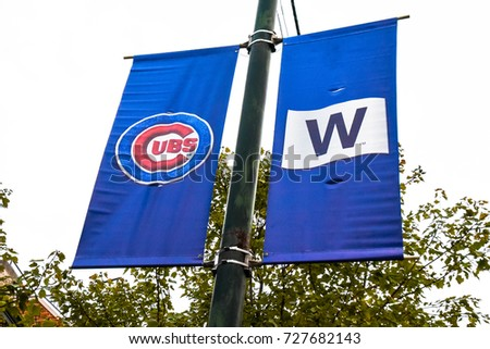 October 10, 2016 - Chicago Cubs and Fly the W signs around Wrigleyville, Chicago, Ilinois