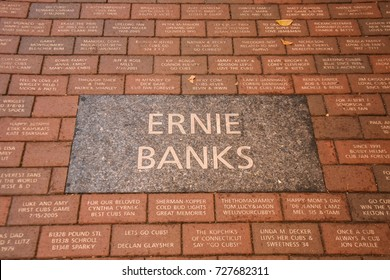 October 10, 2016 - Ernie Banks sidewalk plaque outside Wrigley Field, Chicago, Illinois