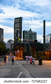 October 10, 2016 - A family walking around Wrigley Field, Wrigleyville, Chicago, Illinois