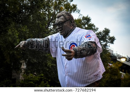 October 10, 2016 - Harry Caray sculpture outside Wrigley Field, Chicago, Illinois