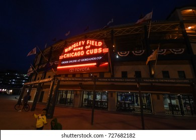 October 10, 2016 - Wrigley Field Marquee by night, Chicago, Illinois