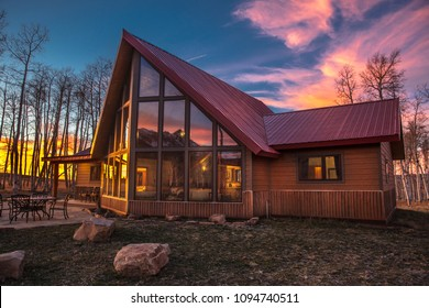 "OCTOBER 10, 2017 ""Aspen View Ranch"" - Eco Home ""A-Frame"" of photographer Joseph Sohm - Hastings Mesa, across from Last Dollar Ranch, Ridgway Colorado - SUNSET"
