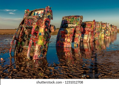 OCTOBER 10, 2018 - AMARILLO, TEXAS, USA - Cadillac Ranch outside of Amarillo Texas - Americana art installation