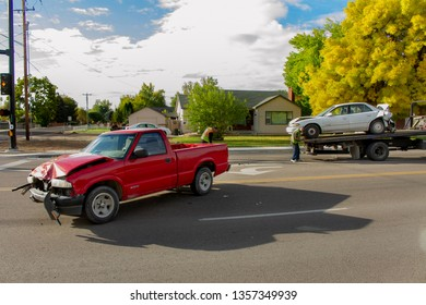 OCTOBER 10 2018 - NAMPA, IDAHO: Cars involved in an accident still in the road.