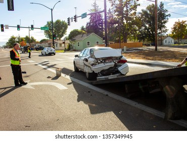 OCTOBER 10 2018 - NAMPA, IDAHO: Car being loaded up to be taken away after an accident