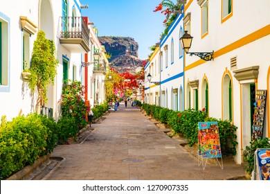 October 10, 2018. Puerto de Mogan, Gran Canaria island, Spain. Cozy town on the coast of Gran Canaria island, Spain.