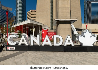 October 10, 2018, Toronto, Ontario, Canada : Entrance zone of the famous CN tower in Toronto with the Canada sculpture in front. Ontario Canada