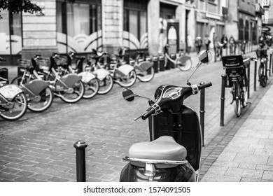 October 10, 2019 Toulouse city in France, a moped and many bicycles