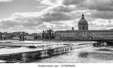 October 10, 2019 Toulouse city in France, power station dam.