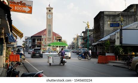 October 10,2019 : Vietnamese Memorial Clock Tower, Nakhon phanom Province, Thailand, Nakhon Phanom Walk Street and Vietnamese Memorial Clock Tower