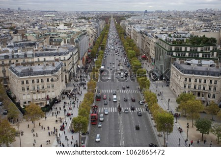 October 11, 2011, France, Paris. View of the city and the street Champs Elysees from the Arc de Triomphe